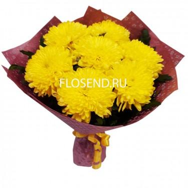 Букет из 7 желтых одноголовых хризантем