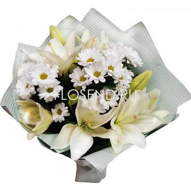 Букет из 3 лилий и 2 белых хризантем