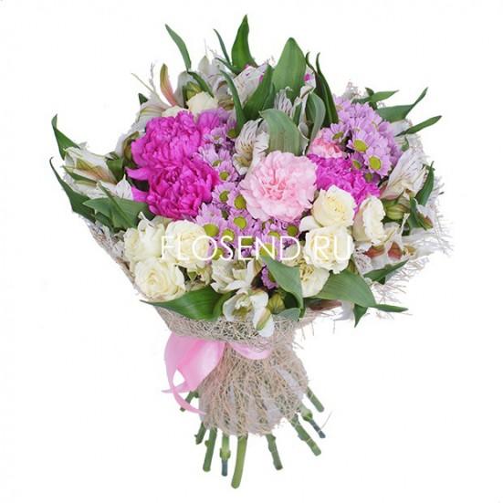 Букет из альстромерии и гвоздики и хризантемы