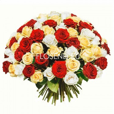 101 роза микс 40 см